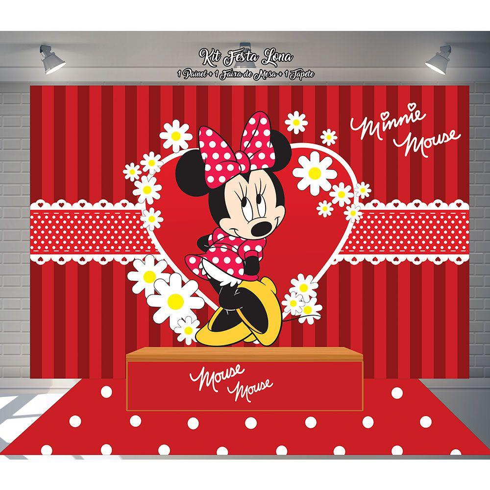 Kit Festa Painel Toalha Tapete em Lona Minnie Mouse