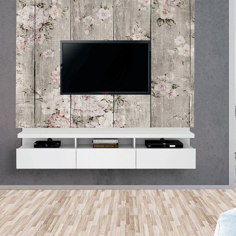 Painel Autoadesivo para Tv Lavável Textura Madeira Florida