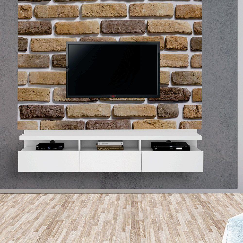 Painel Autoadesivo para Tv Lavável Textura Tijolinho a Vista
