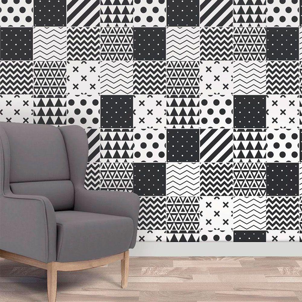 Papel de Parede Autoadesivo Geométricos Preto e Branco