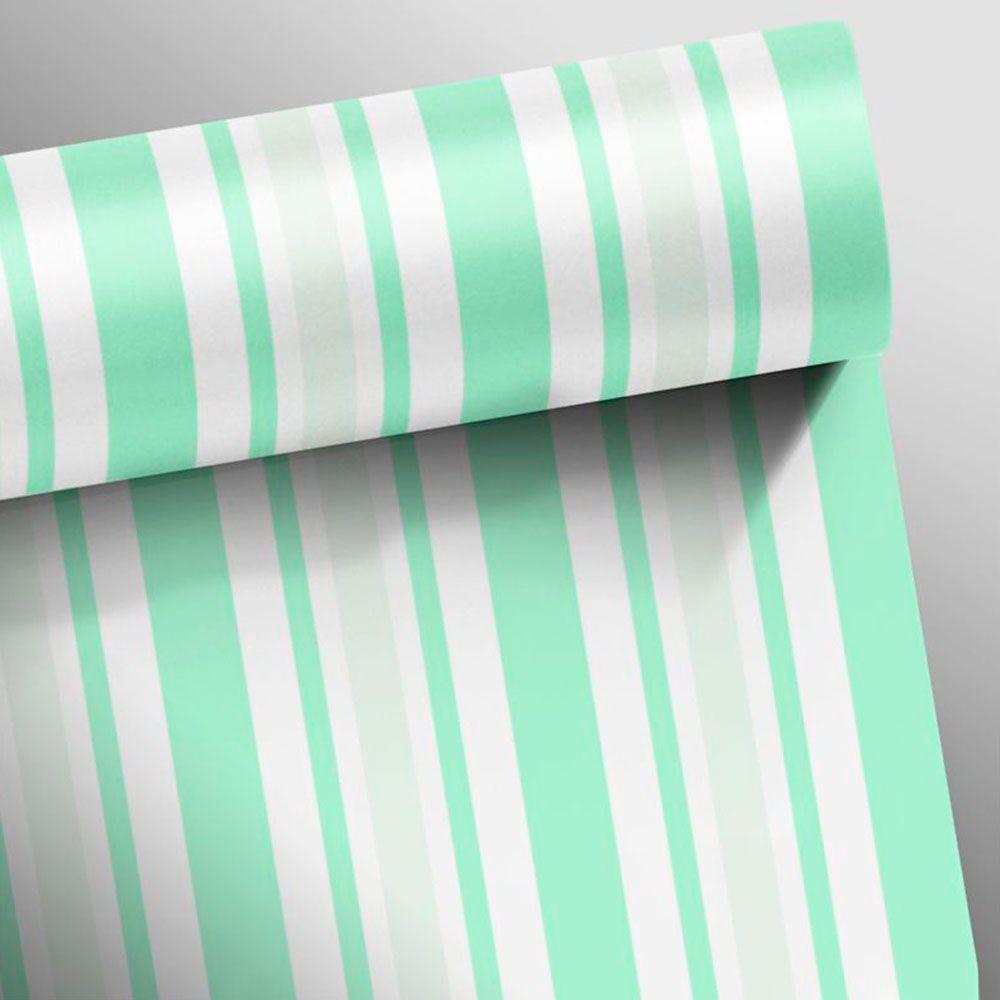 Papel de Parede Autoadesivo Listra Verde e Cinza Claro
