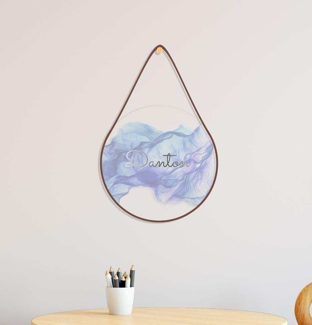 Placa de Acrílico Transparente com Nome 3D Aquarela Azul