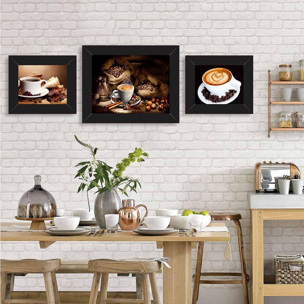 Quadro de Cozinha Café com Espuma e Desenhos de Corações