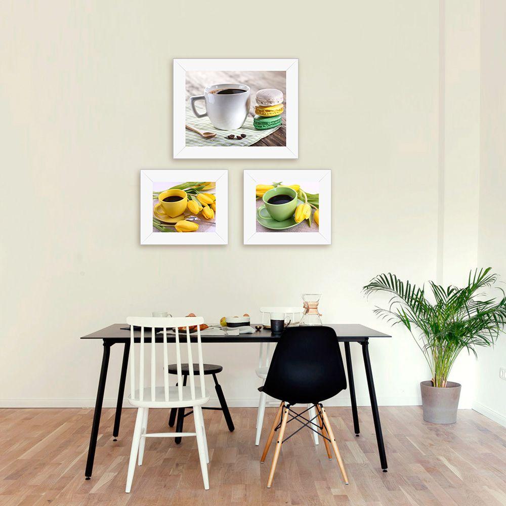 Quadro de Cozinha Café com Xícaras Coloridas