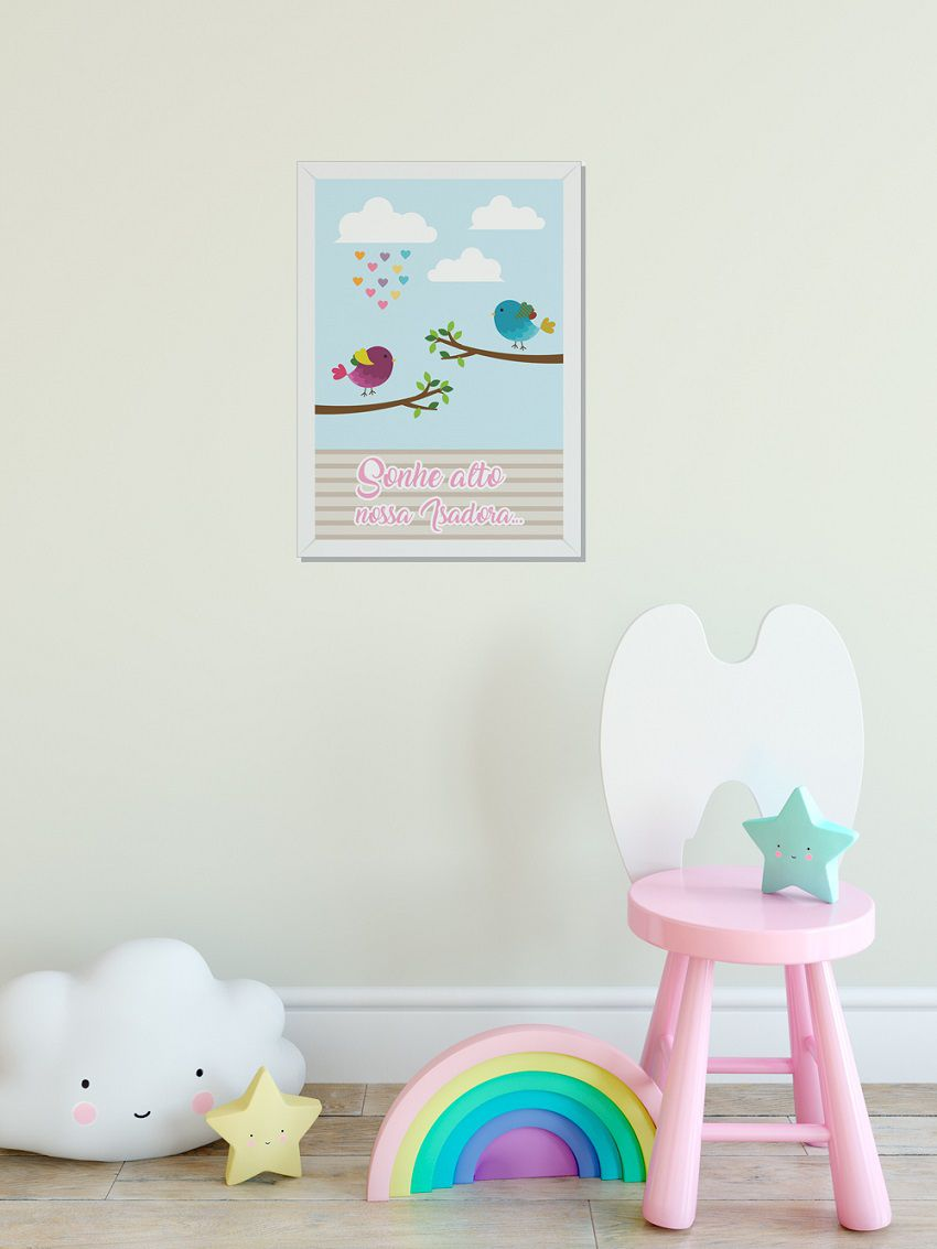Quadro Infantil 3D C/LED Passarinhos