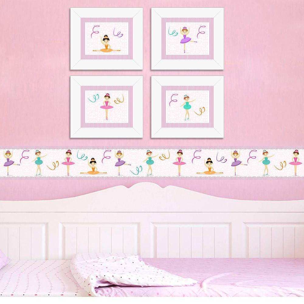 Quadro Infantil Bailarinas Coloridas