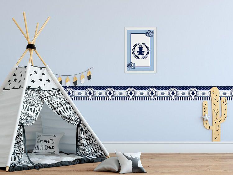 Quadro Infantil 3D Urso Coroa Azul Marinho