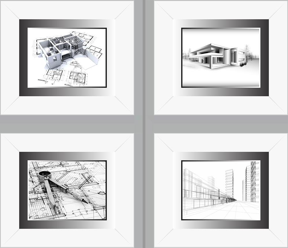 Quadro Profissão Arquitetura Preto e Branco