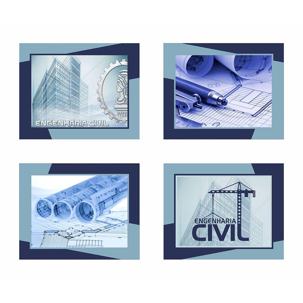 Quadro Profissão Engenharia Tons Azul