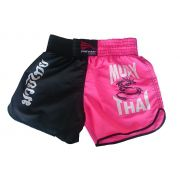 Short Muay Thai Feminino Preto E Rosa Progne Sports