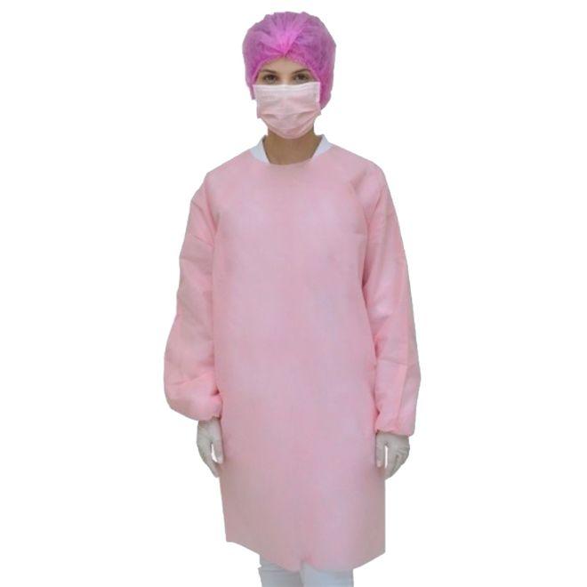 Avental Rosa Descartável para Procedimento Pct 10 unds ProtDesc
