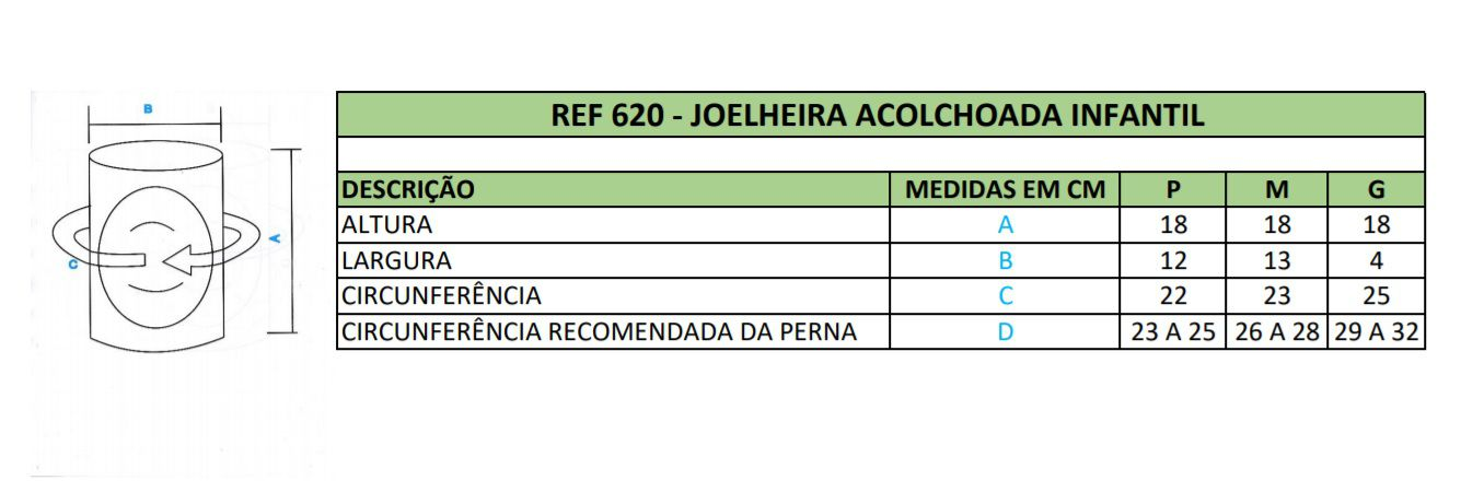 Joelheira INFANTIL Acolchoada Elástica de Vôlei, Futsal Progne Sports