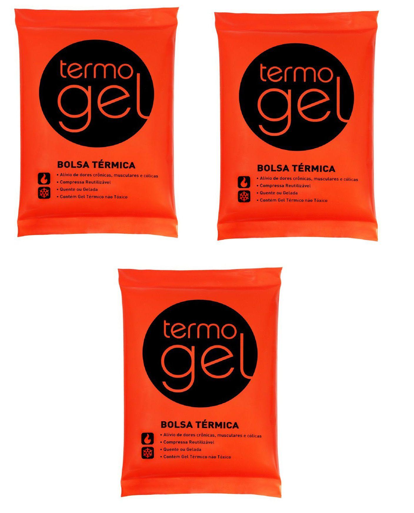 kit 3 Bolsas Térmica De Gel Quente Ou Fria Termogel 13x18 Cm