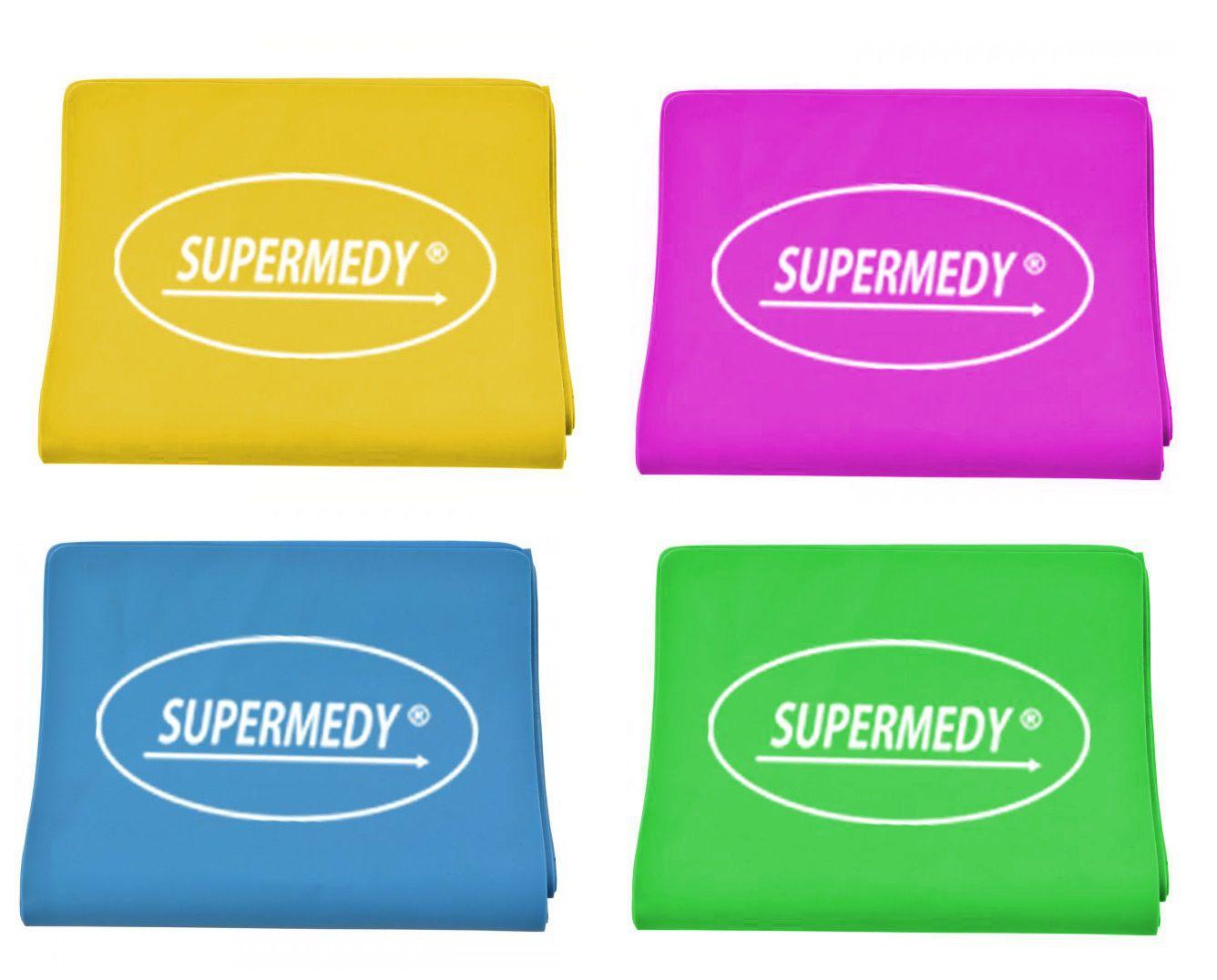 Kit 4 Faixas Elástica Superband  - SUPERMEDY