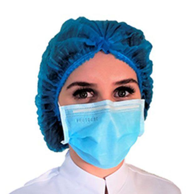 Máscara Cirúrgica Tripla Descartável Elástico Azul 50 unds ProtDesc