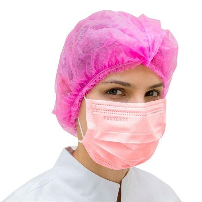 Máscara Cirúrgica Tripla Descartável Elástico Rosa 50 unds ProtDesc