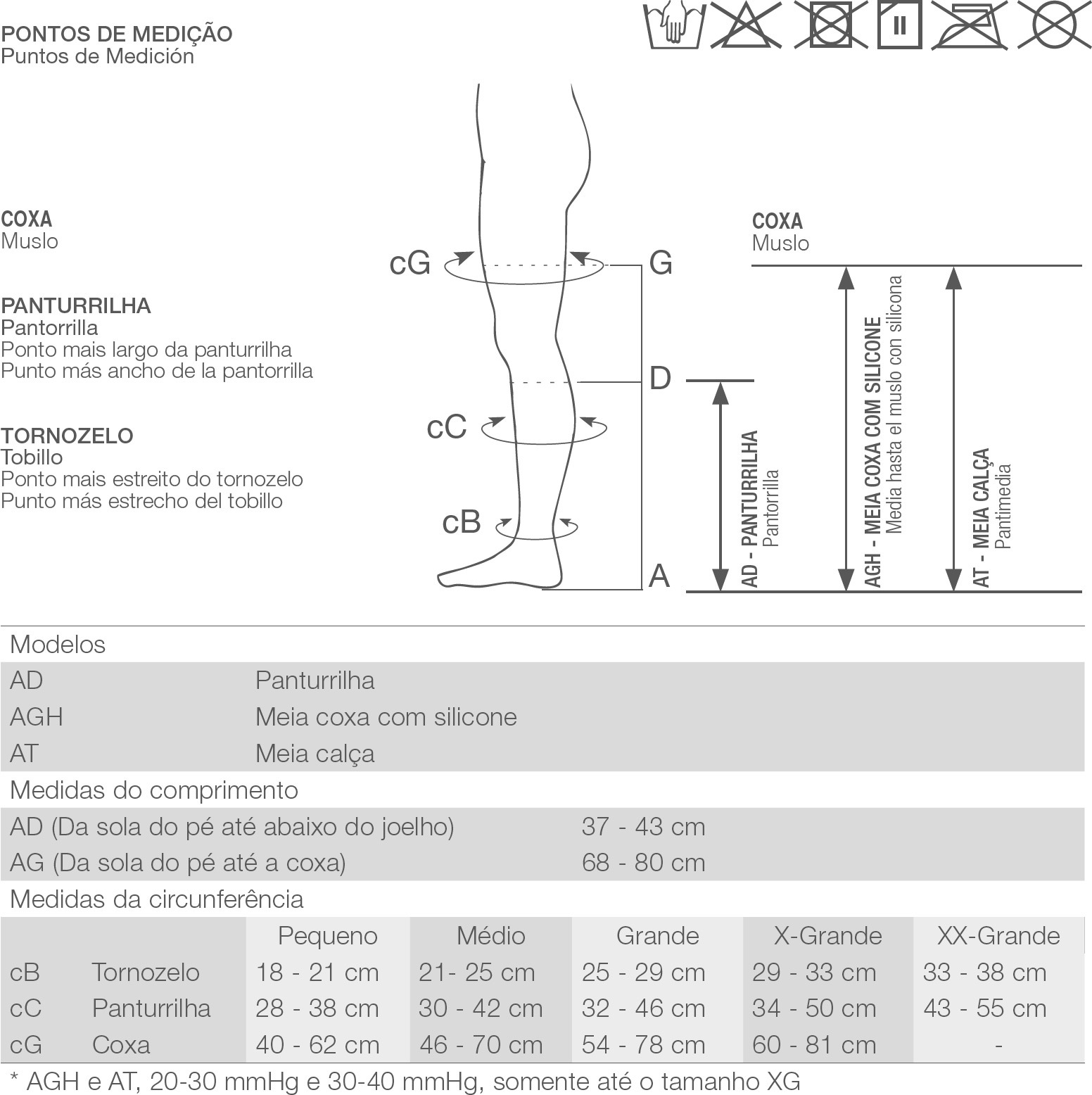 Meia 3/4 Alta Compressão Aberta Bege (30-40 mmHg) AD 6000 Unissex - Venosan®