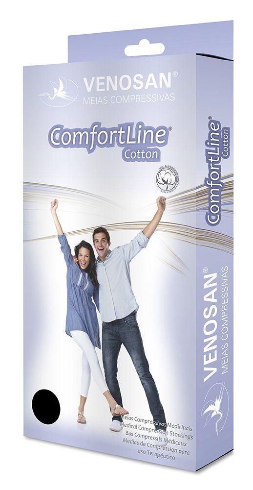 Meia 3/4 Média Compressão Aberta Curta Bege (20-30 mmHg) AD Confortline Cotton - Venosan