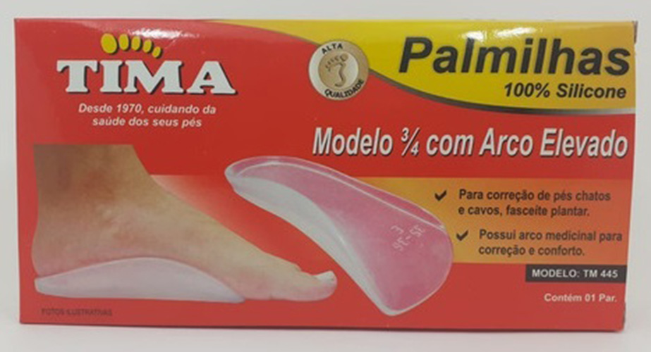 Palmilha 3/4 em Silicone com Arco Elevado Pés Chatos e Cavos - Par - TM 445