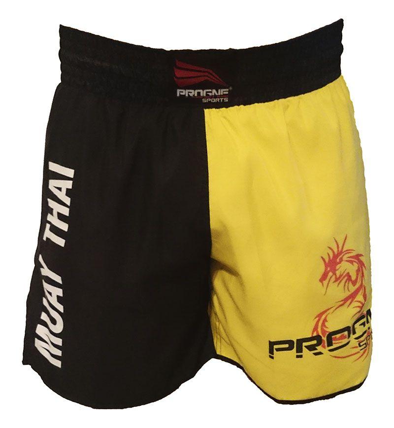 Short Muay Thai Masculino Preto e Amarelo Progne Sports