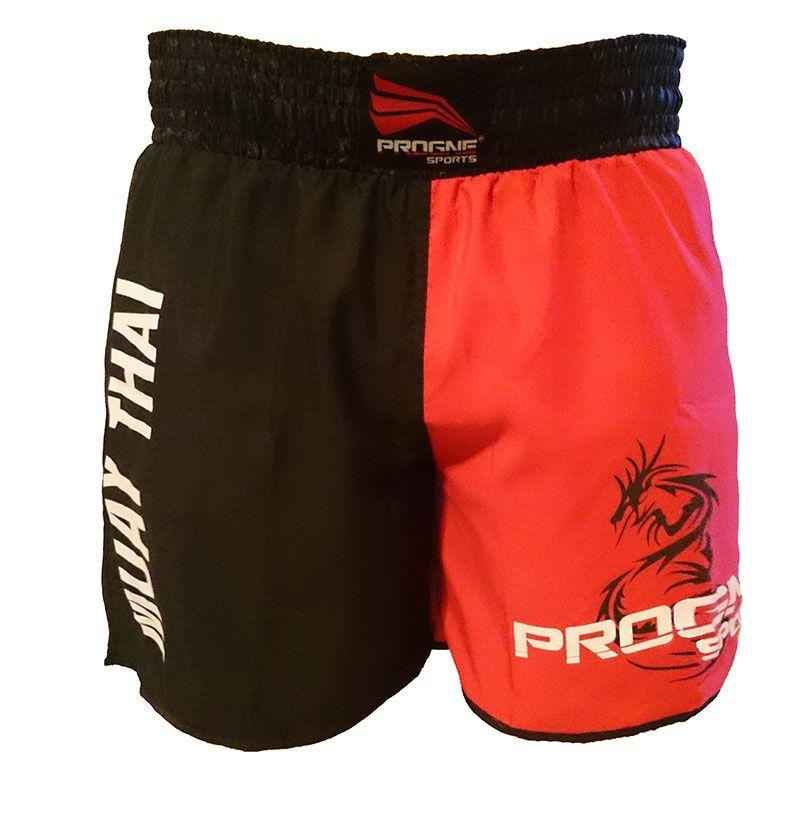 Short Muay Thai Masculino Preto e Vermelho Progne Sports