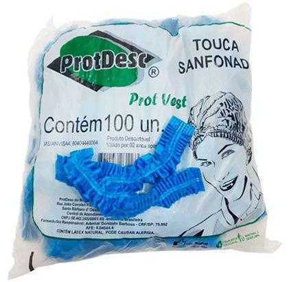 Touca Sanfonada Descartável Azul 100 unds ProtDesc