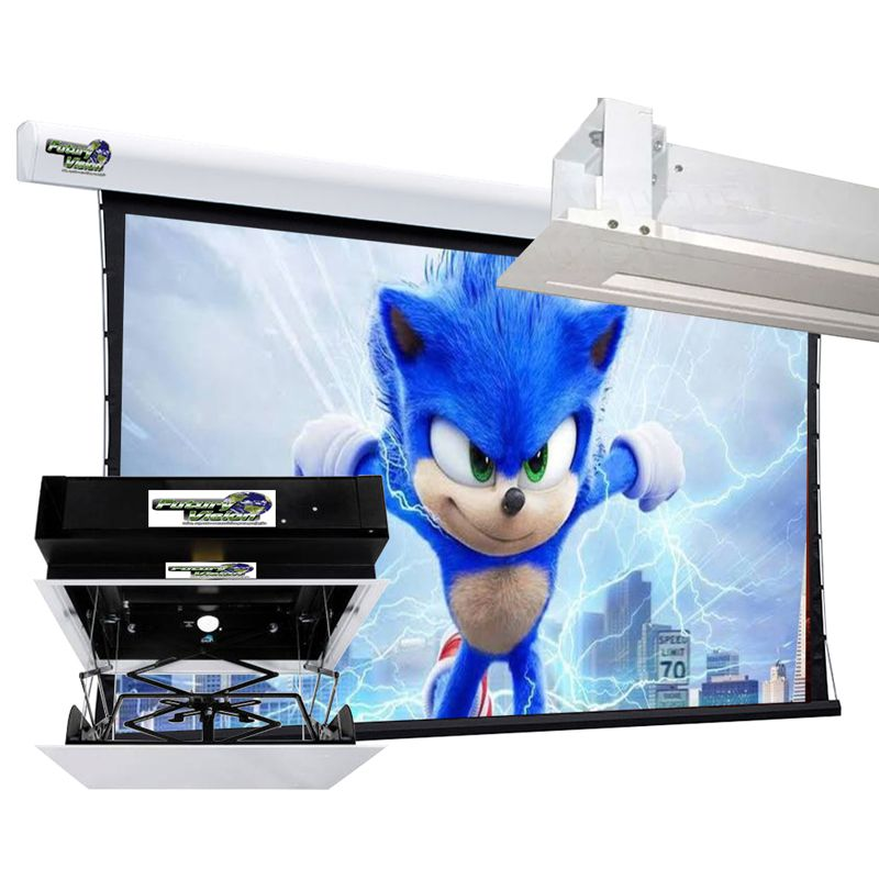 Kit Tela Projeção 100'' Widescreen 16:9 Moldura De Acabamento Lift Modelo 32x32 com Sensor de Corrente Duplo