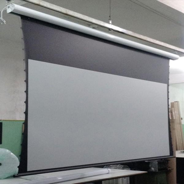 Tela de Projeção Elétrica Tensionada High Contrast 159'' Formato Widescreen 16:9 com Controle Remoto