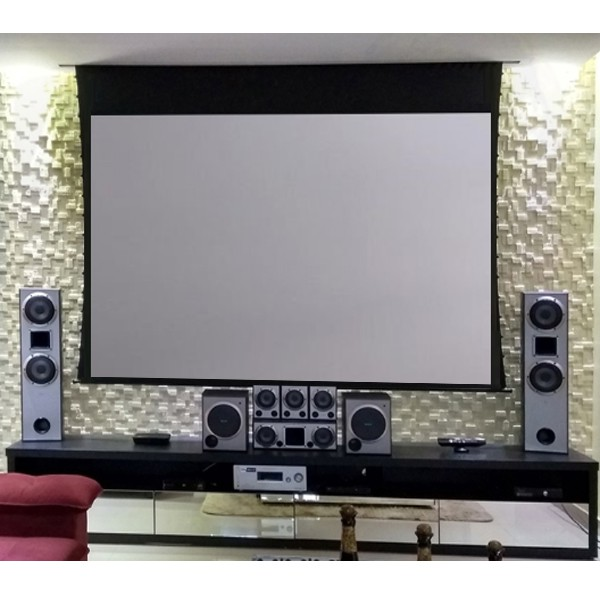 Tela de Projeção Elétrica Tensionada High Contrast 84'' Formato Widescreen 16:9 com Controle Remoto