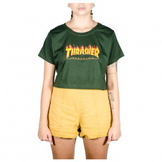 Cropped Thrasher Flame Logo Verde