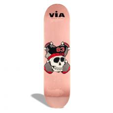 Shape de Skate Street Marfim Via Skate Shop Premium Caveirinha Rosa