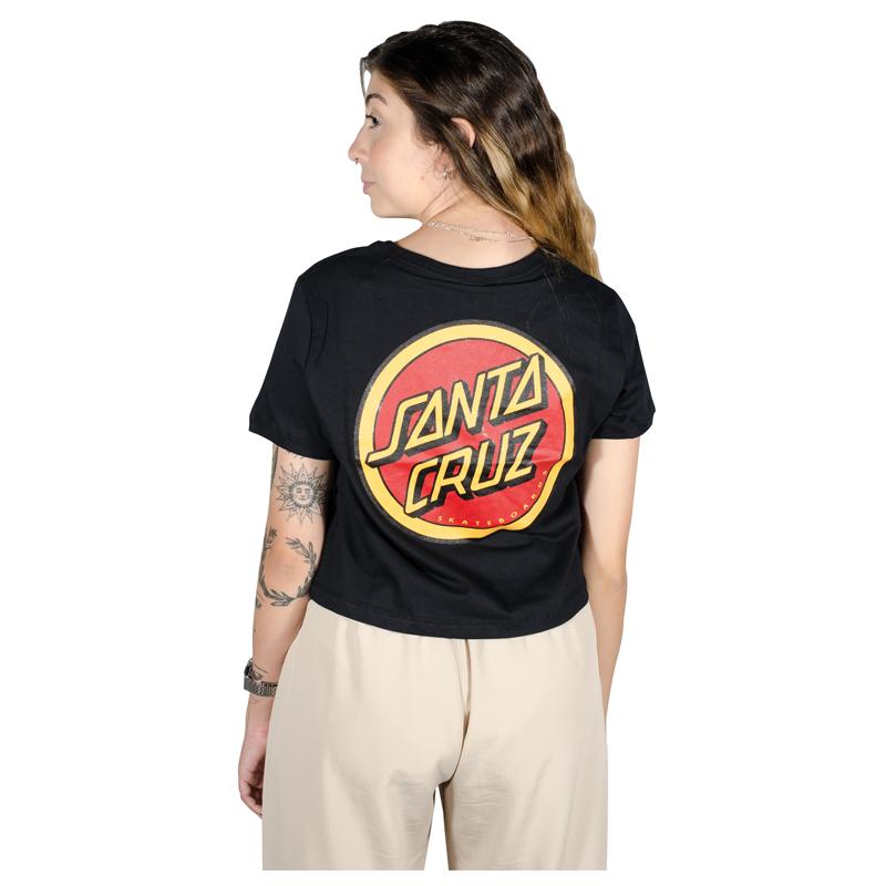 Blusa Santa Cruz Retro Dot Ringer Tee Preta