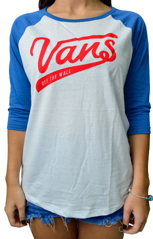 Blusa Vans 3/4 Batter Up 3 Raglan Azul