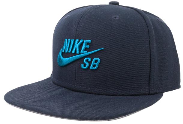 Boné Snapback Nike Sb Azul Marinho com Logo Azul Piscina