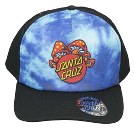 Boné Trucker Aba Curva Santa Cruz Cogumelos Azul Tie Dye/Preto