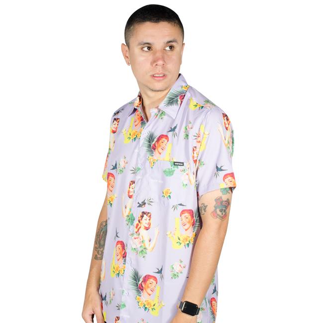 Camisa Drop Dead Tropical Lilás Floral
