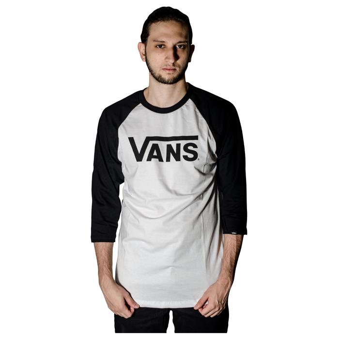 Camisa Vans 3/4 Classic Raglan Preto / Branco VN0A4A59YB2