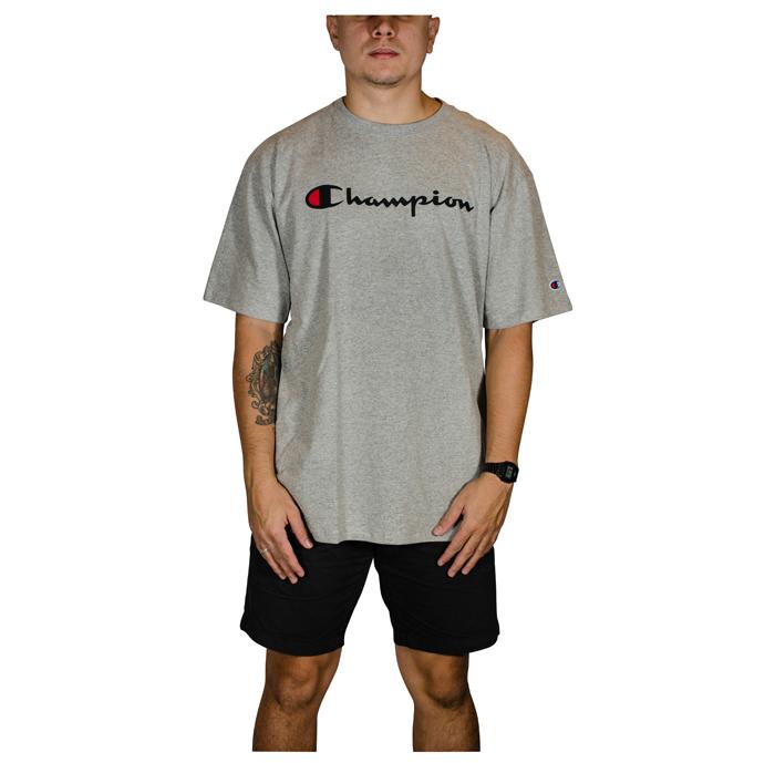 Camiseta Champion 5 Oz Script Logo Print - Mescla Cinza GT23B Y06794B