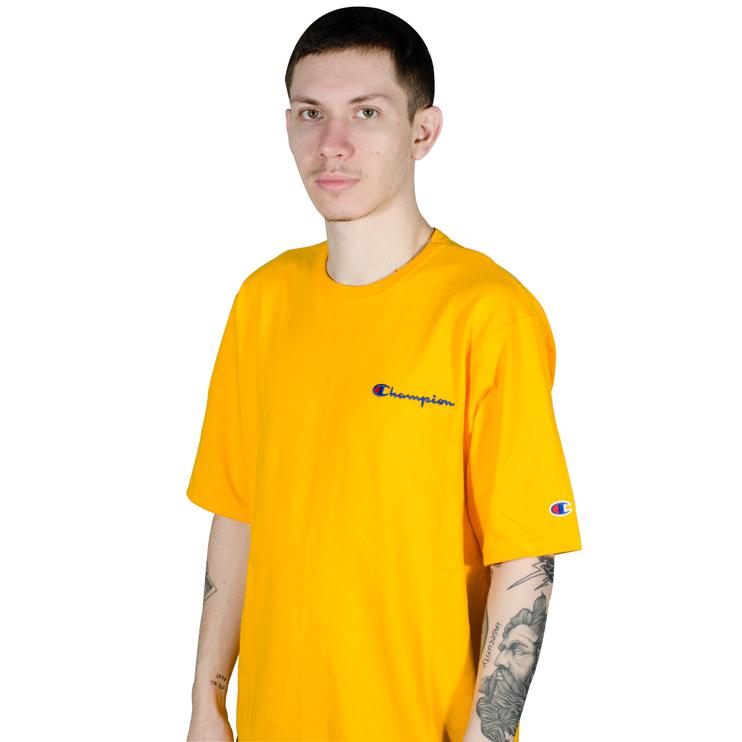 Camiseta Champion Logo Bordado Amarela