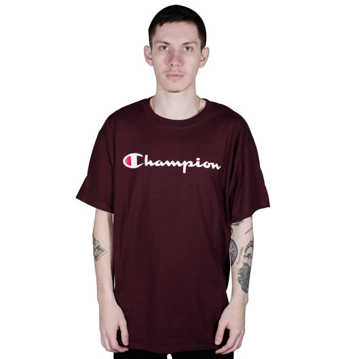 Camiseta Champion Logo Silk Manuscrito Bordô