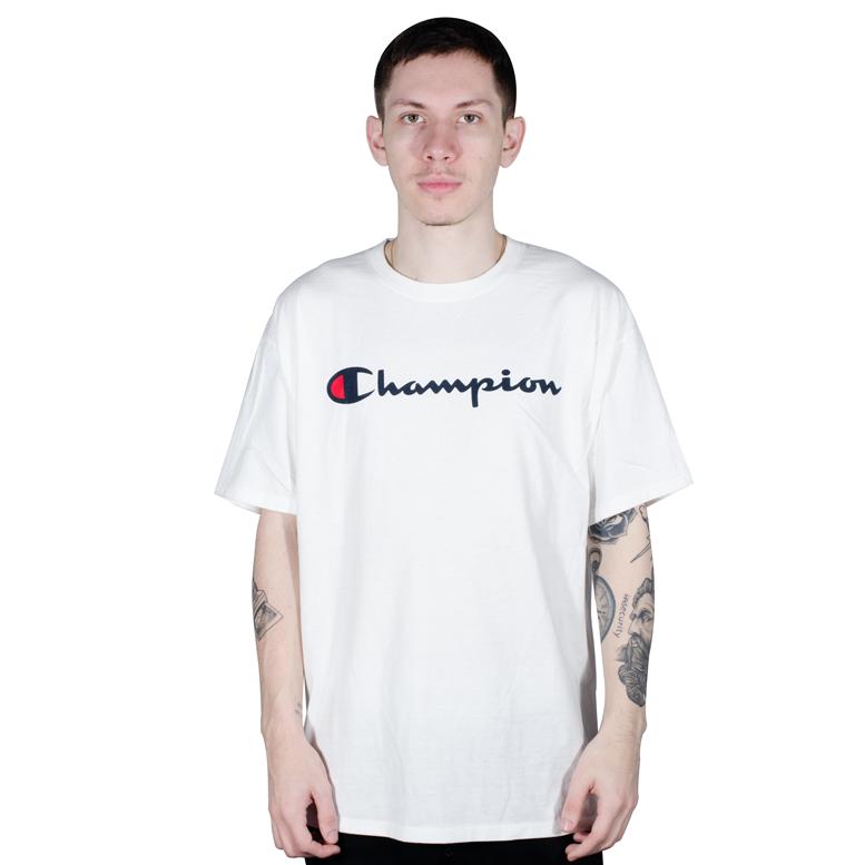 Camiseta Champion Logo Silk Manuscrito Branca