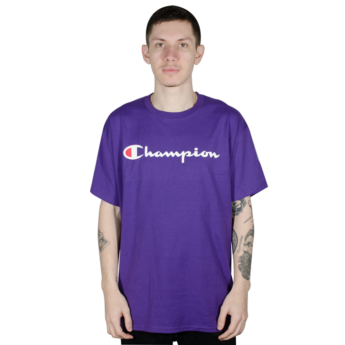 Camiseta Champion Logo Silk Manuscrito Roxa