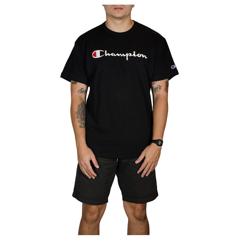 Camiseta Champion Script Patch Logo Malhão- Preta  GT220B Y08069B