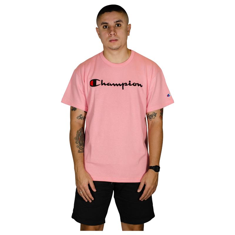 Camiseta Champion Script Patch Logo Malhão- Rosa  GT220B Y08069B