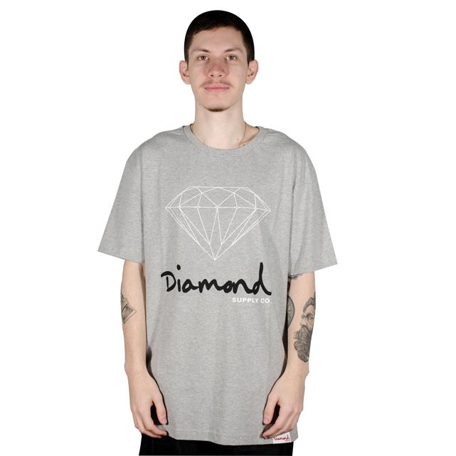 Camiseta Diamond OG Sign BIG Mescla Cinza