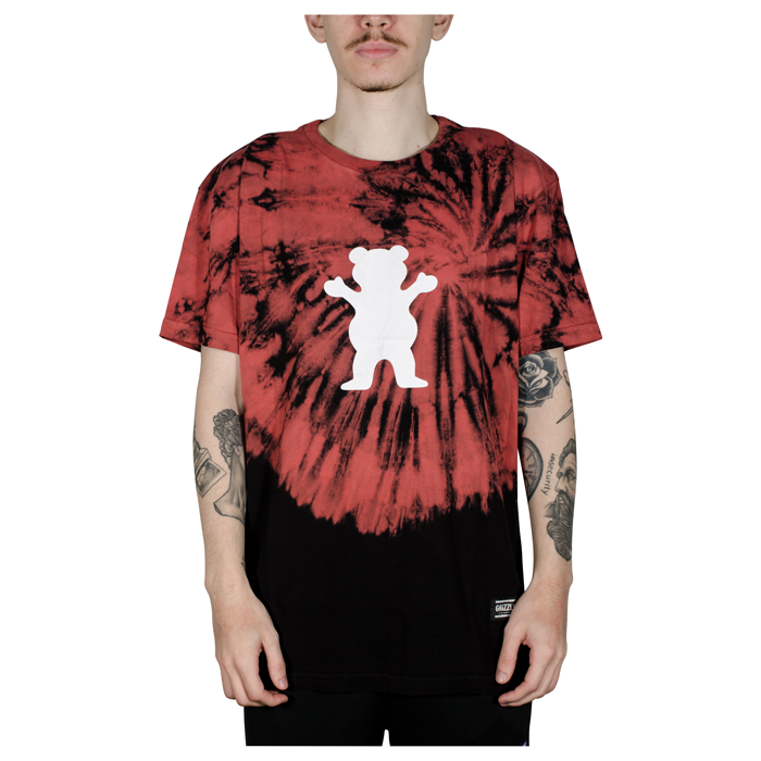 Camiseta Grizzly OG Bear Fruit Punch Tee Tie Dye Vermelha