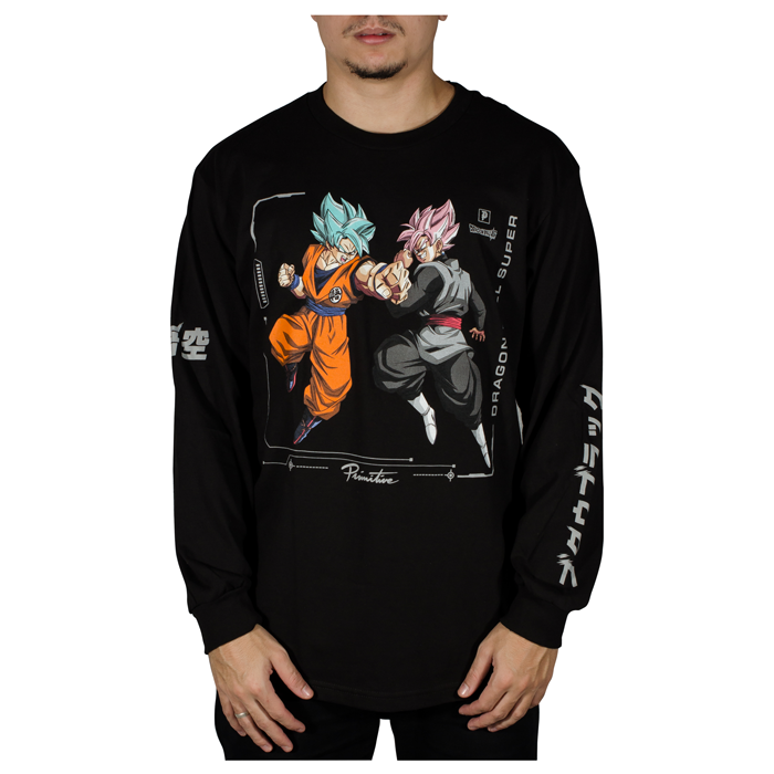 Camiseta Manga Longa Primitive X DBZ Super Goku Versus Preta
