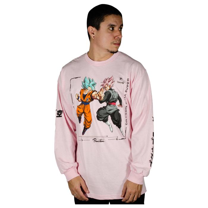 Camiseta Manga Longa Primitive X DBZ Super Goku Versus Rosa