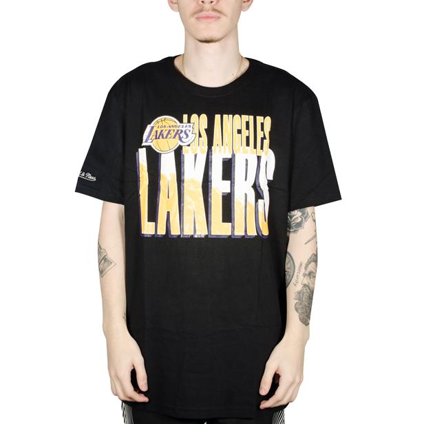 Camiseta Mitchell & Ness Los Angeles Lakers Scribble Preta