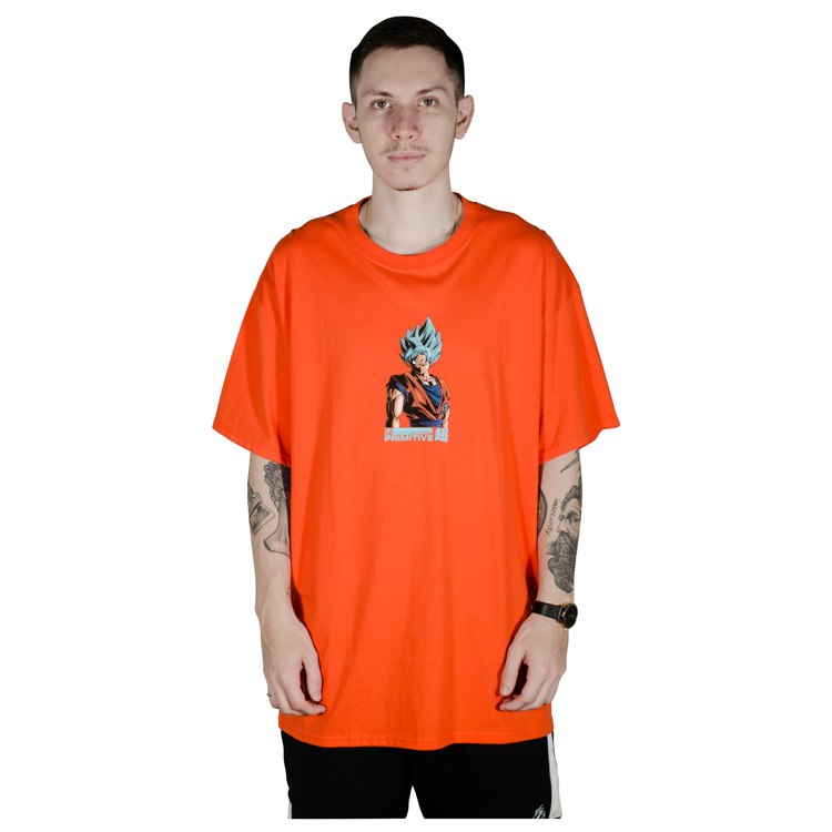 Camiseta Primitive x Dragon Ball Z Shadow Goku Laranja